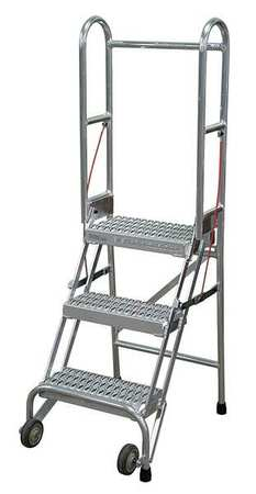 "3 STEPS, 30"" H ALUMINUM ROLLING LADDER, 350 LB. LOAD CAPACITY"