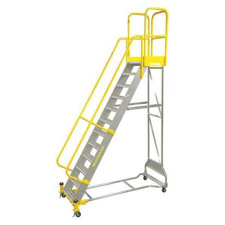 "10 Steps, 100"" H Aluminum Rolling Ladder, 500 lb. Load Capacity"