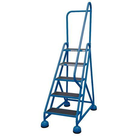 """5 STEPS, 45"""" H STEEL ROLLING LADDER, 450 LB. LOAD CAPACITY"""