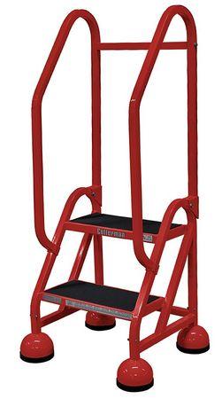 """2 Steps, 18"""" H Steel Rolling Ladder, 450 lb. Load Capacity"""