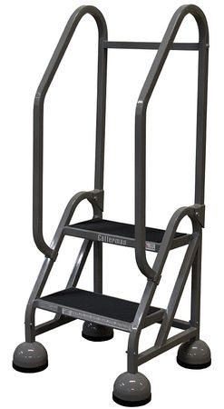 "2 Steps, 18"" H Steel Rolling Ladder, 450 lb. Load Capacity"