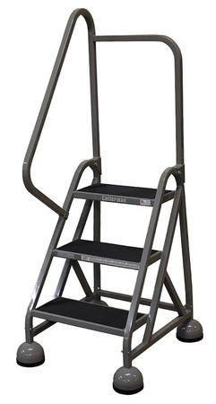 """3 Steps, 27"""" H Steel Rolling Ladder, 450 lb. Load Capacity"""