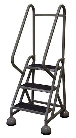 "3 STEPS, 27"" H STEEL ROLLING LADDER, 450 LB. LOAD CAPACITY"
