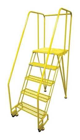 """5 STEPS, 50"""" H STEEL ROLLING LADDER, 450 LB. LOAD CAPACITY"""